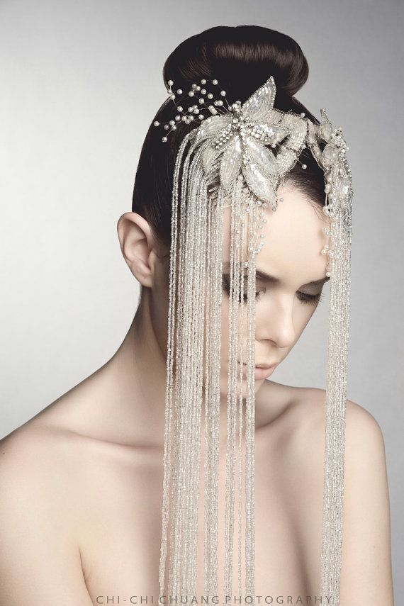 Statement Bridal Combs, White Glass Beaded Hair Adornment, Vintage Upcycled Fabulous Accessory on Etsy, $287.00