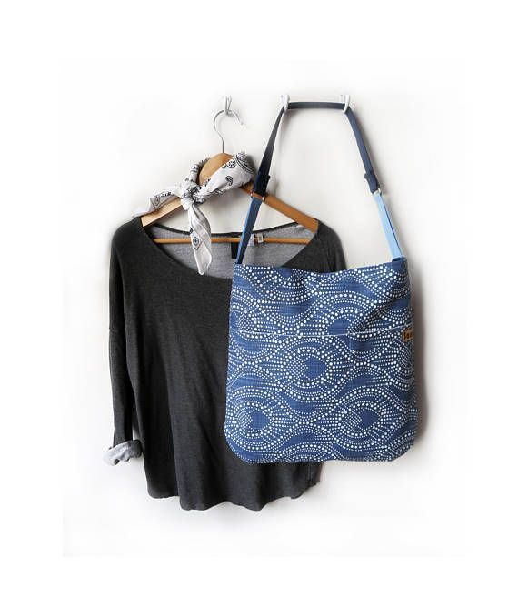 The Afternoon// Blue and White Print Shoulder Bag with a