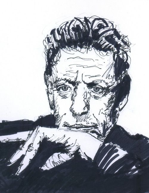 September 28, 2016. Philip Glass. Sketch, markers, 15 minutes.
