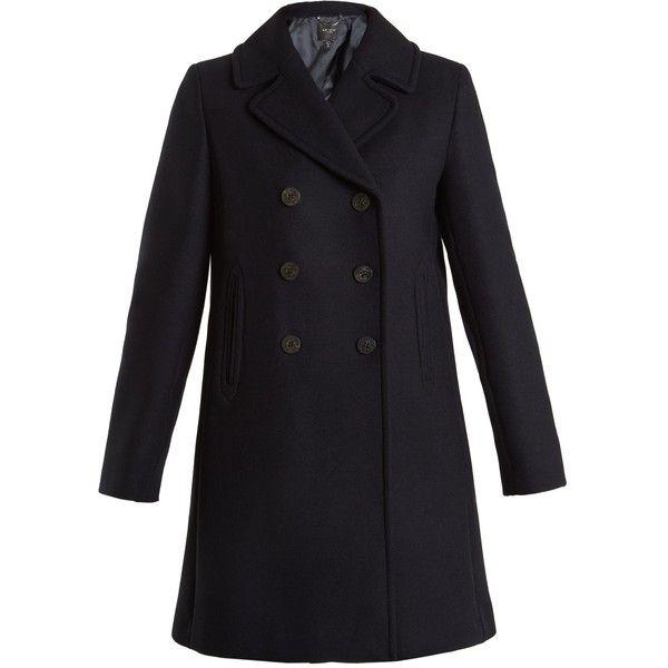 Weekend Max Mara Operoso coat ($775) ❤ liked on Polyvore featuring outerwear, coats, navy, peacoat coat, wool peacoat, wool coats, navy wool peacoat and navy blue wool peacoat