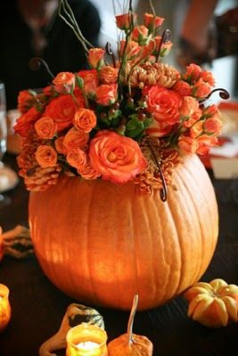 Beautiful fall colored flowers in a hollowed pumpkin centerpiece,  surrounded by mini pumpkins. | MMD Events - Welcome