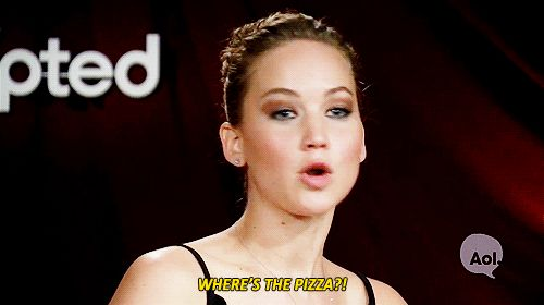 When she was distracted by the thought of pizza. | 22 Times Jennifer Lawrence Just Did Not Care What Anyone Thought