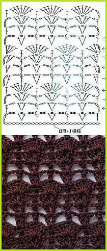 CROCHET | Growing Fan Crown Trellis Stitch Pattern - Real Name Unknown | WITH DIAGRAM (Asian, Russian) | Pattern is originally from Asian;however the Website landing page is Russian | Szydelko wzory na Stylowi.pl |~~bonniebuchanan