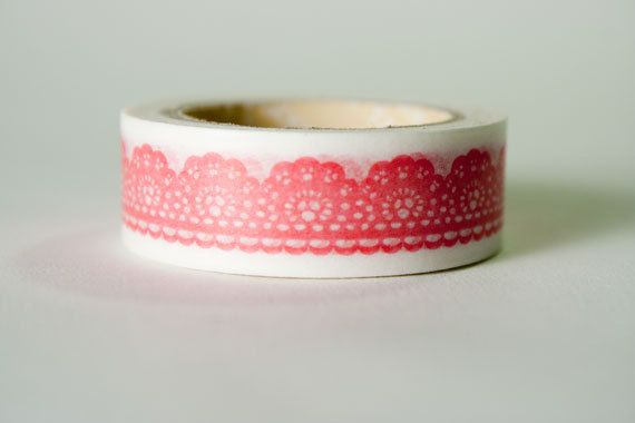 Washi Tape Red Lace Scalloped Edge by HexagonInc on Etsy, $3.50