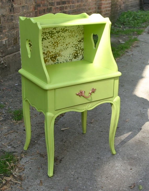 Green nightstand end table by theandsuchshop on Etsy, $150.00 - I cannot get enough green.