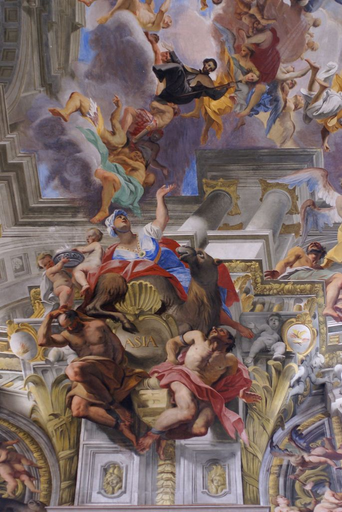 Rom, Piazza Sant'Ignazio, Kirche Sant'Ignazio, Asien im Deckenfresko von Andrea Pozzo (St. Ignatius Church, Asia in the ceiling fresco of Andrea Pozzo) | par HEN-Magonza