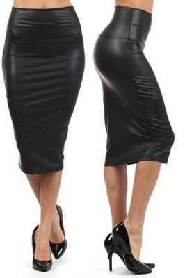NEW WOMEN BLACK FAUX LEATHER PENCIL SKIRT High Waist Sexy Below Knee Long S M L