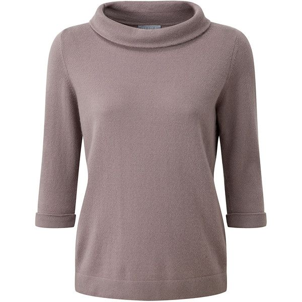 Cashmere Bardot Sweater (175,655 KRW) ❤ liked on Polyvore featuring tops, sweaters, brown tops, cashmere tops, brown sweater, wool cashmere sweater and cashmere sweater