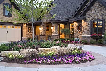 Stonework and black trim looks so good, but give me a green lawn!