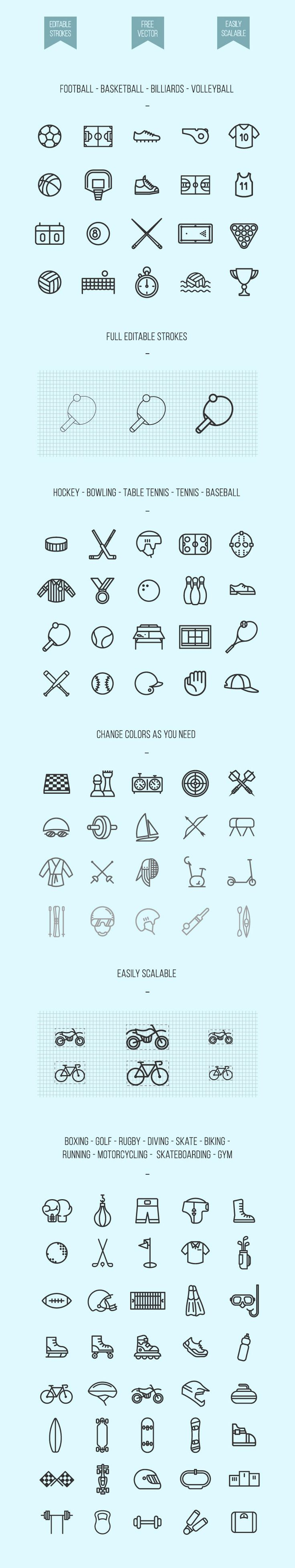 Freebie: 100 Lineal Sport Icons Pack (SVG and PNG)                                                                                                                                                                                 Mais