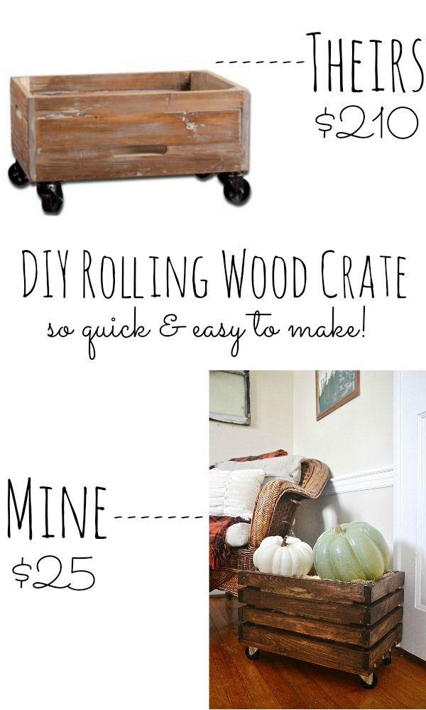 DIY rolling wood crate - so quick & easy to make!!