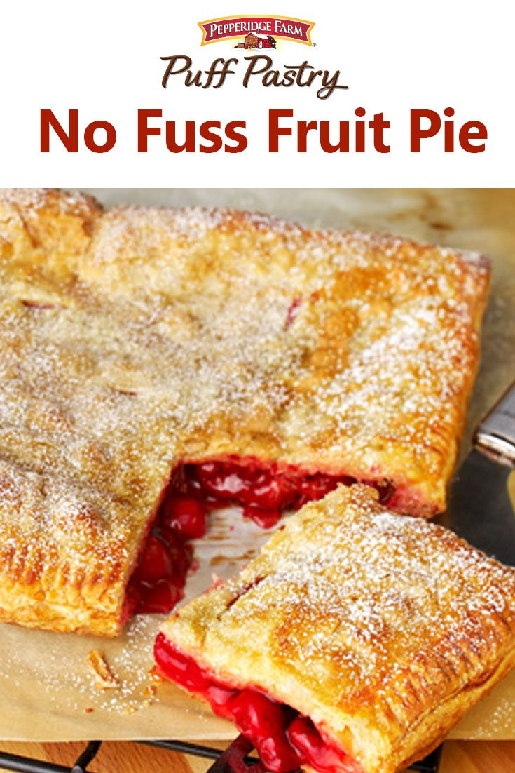 Puff Pastry No Fuss Fruit Pie Recipe. This simple square pie doesn't even require a special pie dish or rolling pin! Simply unfold Puff Pastry onto a baking sheet and top with your favorite fruit filling (you can use blueberry, apple, cherry, or even lemon pie filling). Then top with second sheet of Puff Pastry and bake until golden brown. A sprinkle of confectioners' sugar makes this absolutely irresistible and the perfect dish for any barbecue or block party.