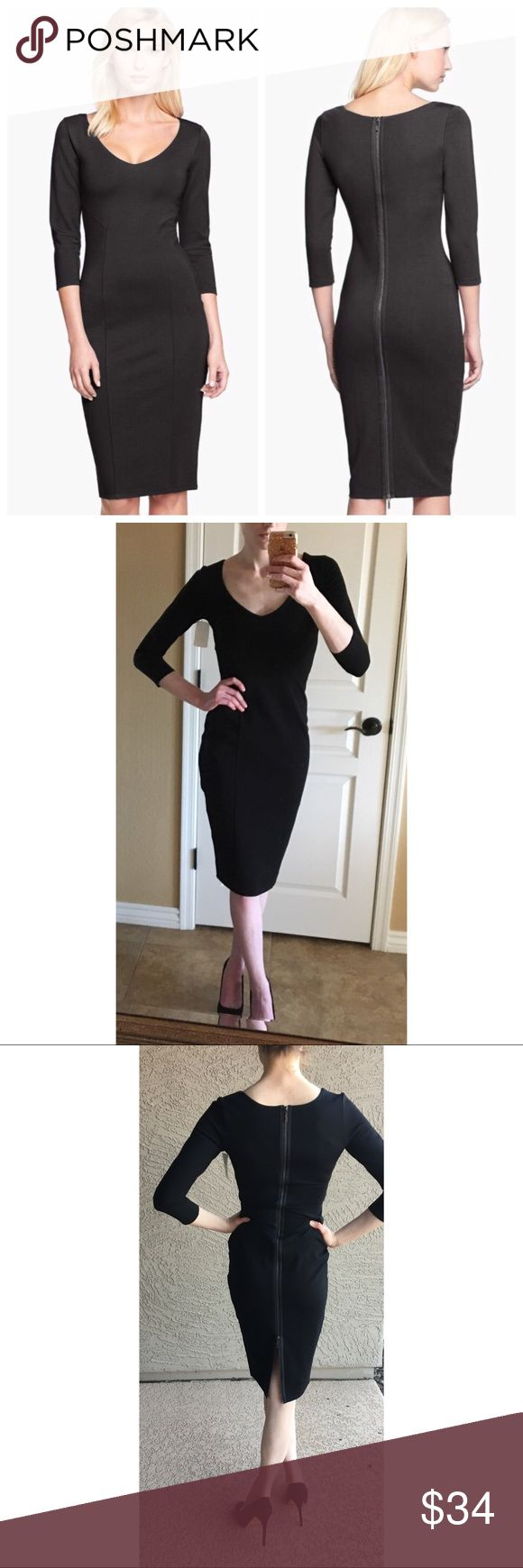 """✨NWOT✨ Midi Zip-back Dress NWOT 3/4 Sleeve sleek bodycon midi dress by Felicity & Coco (a Nordstrom brand). Full-zipper back, V-neck, Stretch fabric--almost scuba-like material, Fitted silhouette... I just don't have very much in the curves department lol. I'm 5'9, usually an xs/s. 