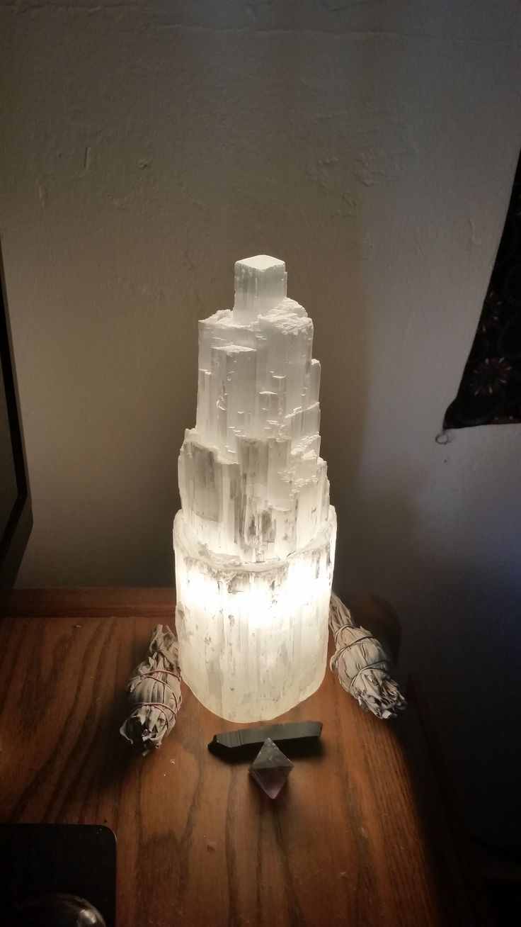 """12"""" Celestial Selenite Lamp — Rocks for the Spirit"""