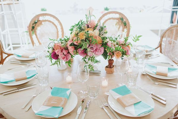 bright table settings - photo by I Love Wednesdays http://ruffledblog.com/flower-filled-bohemian-australian-wedding