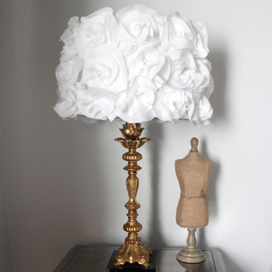 The 25 best flower lampshade ideas on pinterest paper light take a lampshade from boring to beautiful with this craft diy fabric flower lampshade aloadofball Choice Image