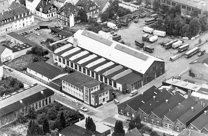 Luftaufnahme des Firmengeländes von Hillenkötter & Ronsieck ca. 1959. http://blog.hiro.de/2015/10/02/hirostory-umbau-in-den-50er-jahren/