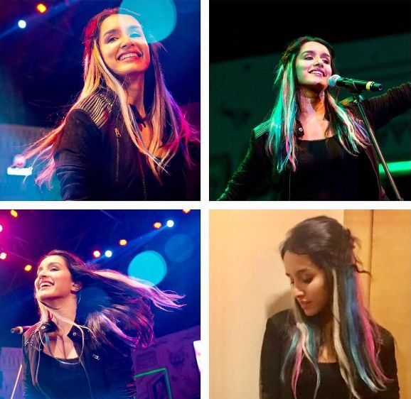 Here's a rockstar with #rockon2 ✌ ... RAINBOW Hair 🌈 What u think about this picture guys ? #shraddhakapoor #rockon2 #rainbowhair #performance #black #blazer #amazing #shifstershetty #hairstyle #confidence #rock #rockagainstracism