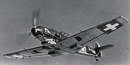 Great angle of a Swiss Air Force Messerschmitt Bf-109E during WWII ~ BFD