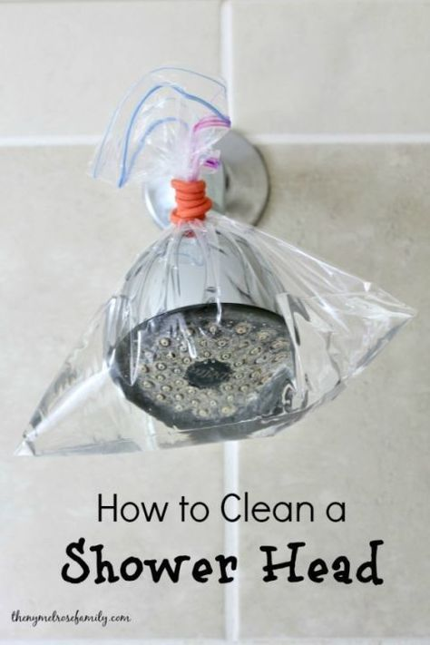 If the water in your shower is spraying out in all directions, it's probably time to give it a deep clean. Mix a solution of equal parts vinegar and water, then pour it into a plastic bag and wrap it around your water source (as shown here by The Melrose Family). Let the solution sit for 15 to 20 minutes, then remove and rinse. See more ways to use resealable plastic bags.