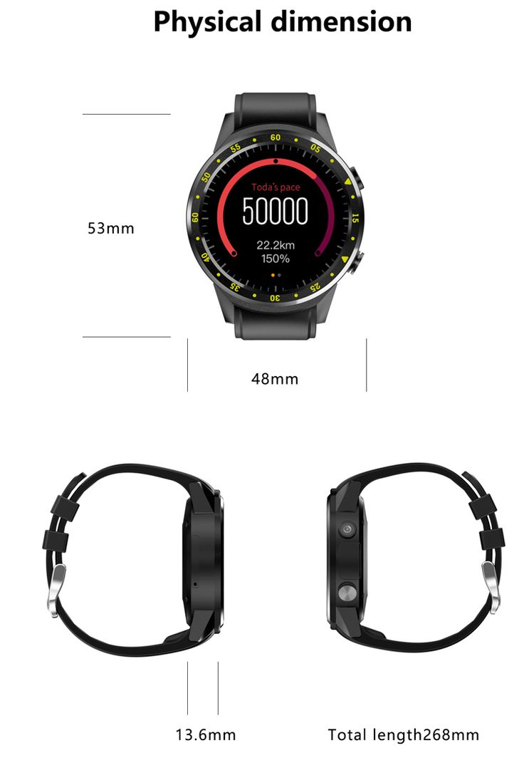 Bakeey F1 1.3inch 4G Wifi GPS 1G 8G Heart Rate Monitor Pedometer Sport Smart Watch For iphone X 8/8P