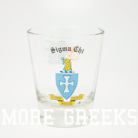 Sigma Chi Fraternity Crest Shot Glass by moregreeks on Etsy
