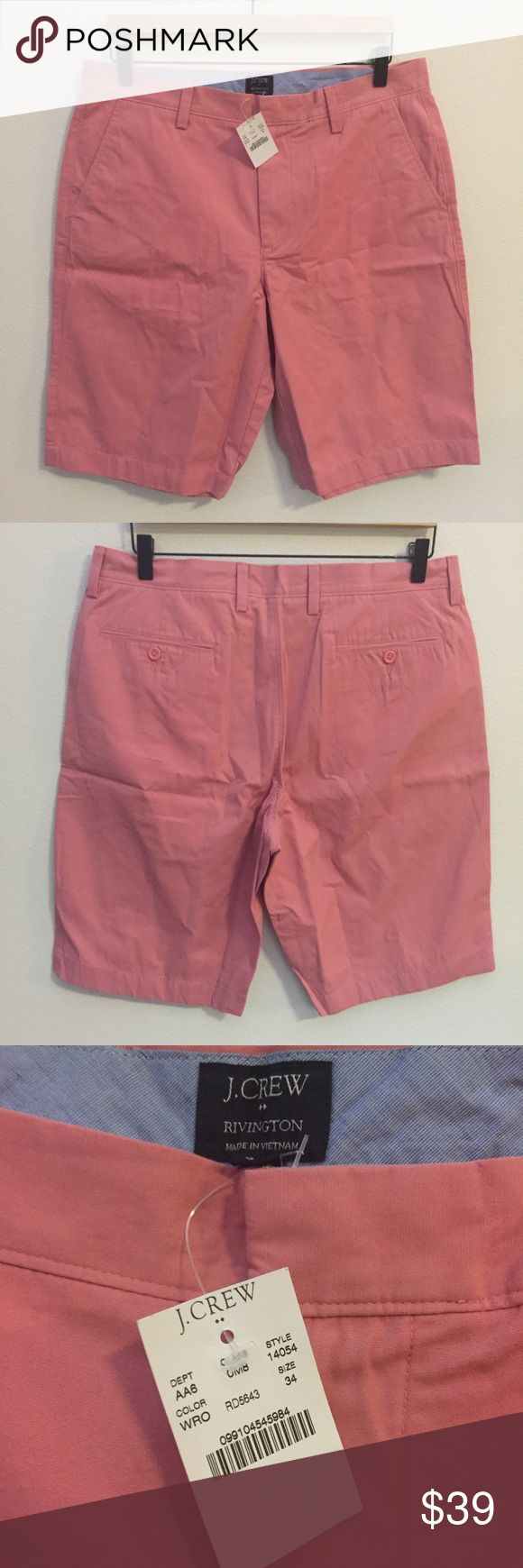 NEW! J.Crew Irvington Shorts, Size 34 J.Crew Men's Shorts.  Size 34 Waist.  NEW WITH TAG! Button & zipper fly closure. Salmon pink color. 100% Cotton J. Crew Shorts