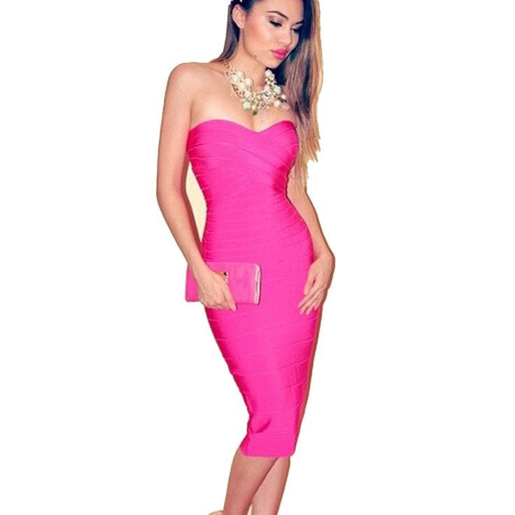 Meilun Women's Rayon Below Knee Bandage Bodycon Party Dress: Clothing: