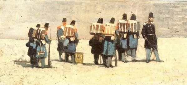 """""""Soldati francesi del '59"""", Giovanni Fattori, 1859; olio su tela, 15,5x32 cm; Collezione privata, Milano."""