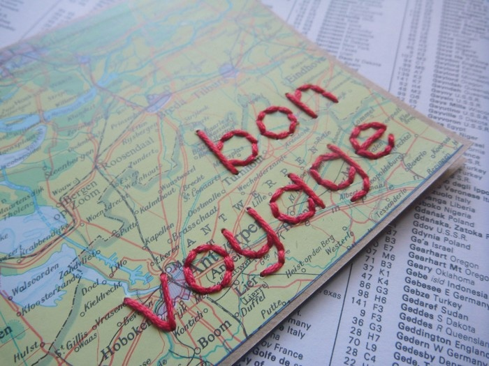 Bon Voyage - a hand stitched greeting card