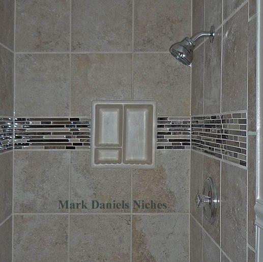 Small Bathroom Vanities, Shelves And Gray Shower Tile