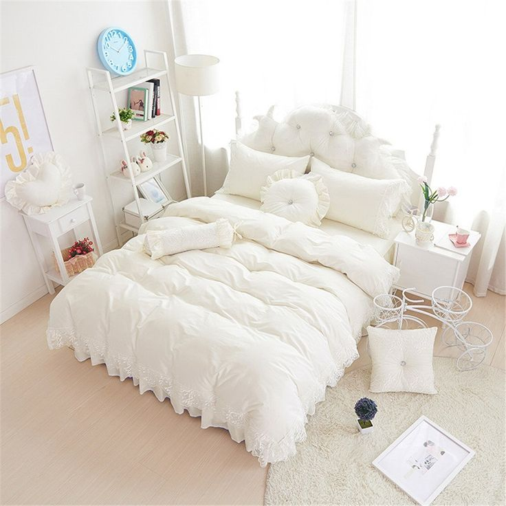 Amazon|(コフェイス)Coface 寝具カバーセット セミダブル 布団カバーセット ベッドスーツ 枕カバー 4点カット かわいい 姫系 レース 綿100 白|寝具カバーセット オンライン通販