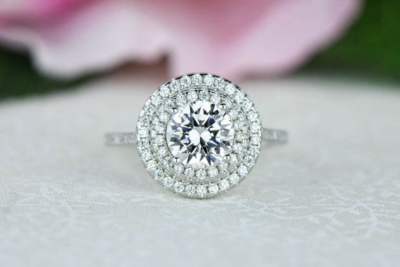 1.5 ctw Round Double Halo Ring Engagement Ring by TigerGemstones