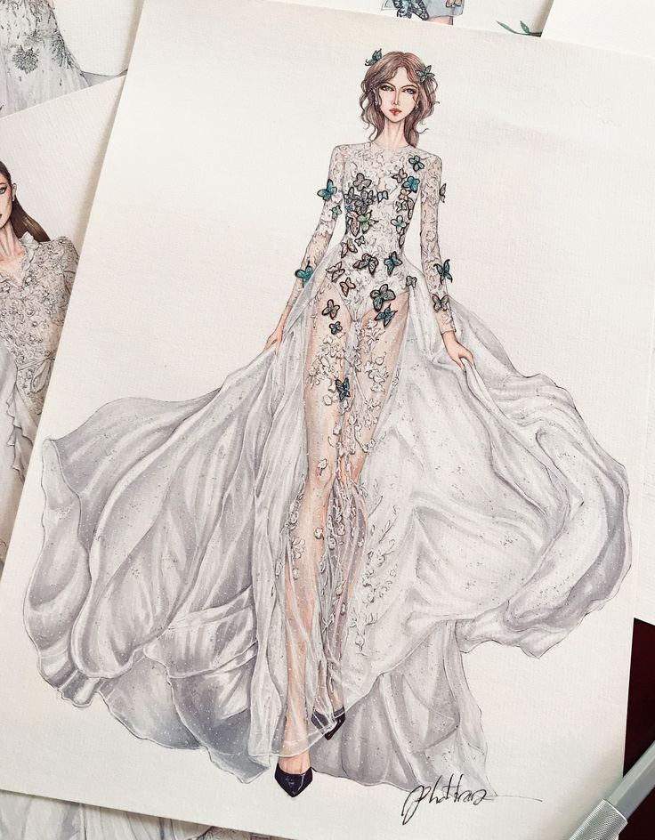 Butterfly wedding dress by Vo Cong Khanh #sketch #sketching #draw #drawing #fashion #fashionsketch #fashiondrawing #fashionillustrator #fashionillustration #fashionart #art #artwork #instaart #illustrator #illustration #ss18 #wedding #bride