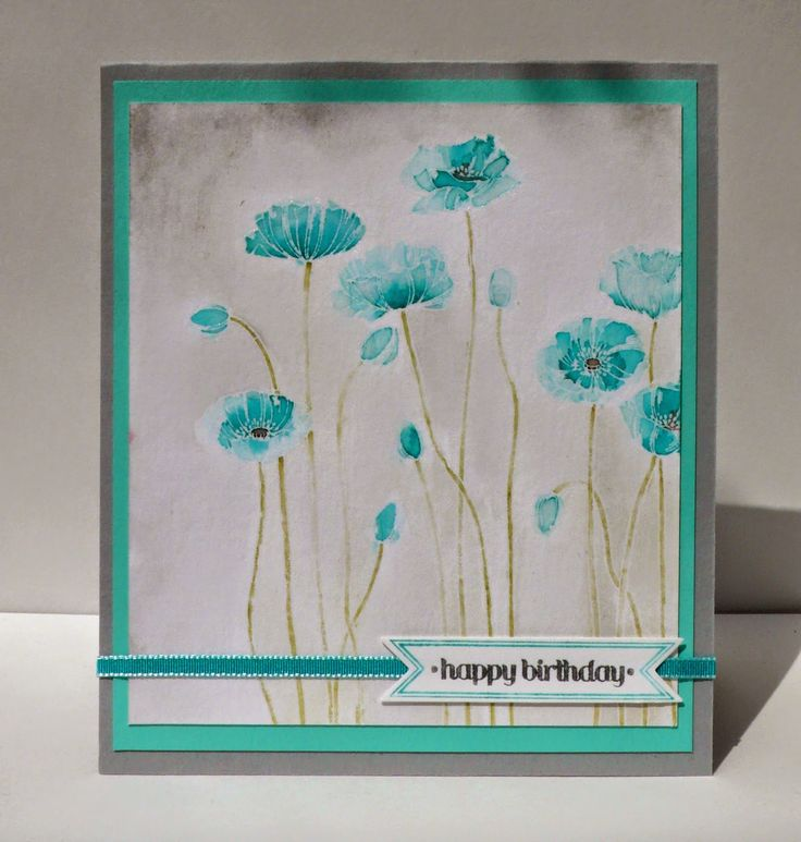 Marits blog: Blue poppies! SU watercolor, Pleasant Poppies