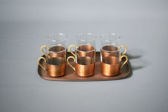 COPPER TEA SET, French Mid Century Tea Set with Tray, Copper and Brass Tea Set, Wicker Handles, French Rustic Modern Tea Set, Made in France