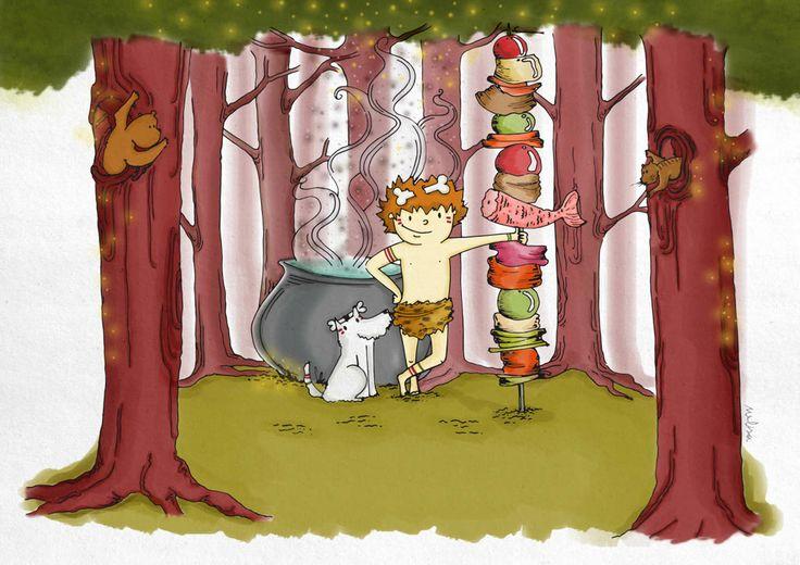#Brocheta #ilustracion #colores #cavernicola #caveman #woods