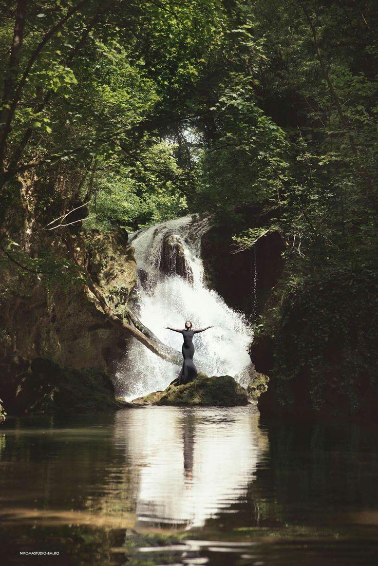 #powerofnature #waterfall #blackdress #nature #woods #forest #greenforest #water