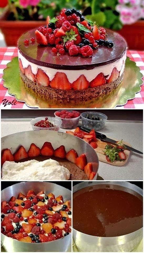 Fraisier CAKE não esquecendo que em cima das frutas irá mais uma camada de creme de mascarpone.