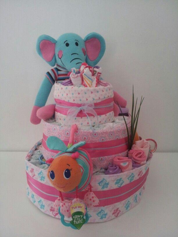 3 tier girl nappycake