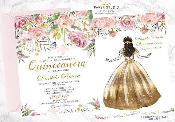 Quinceanera, Elegant Invitation, Princess Invitation, Glamour Invitation,  Sweet 16 Birthday, 18th Birthday, Milestone Invitation, BDQ003