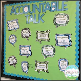 Accountable Talk Bulletin Board.  Free printables included.