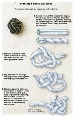 How to make a basic ball knot, great idea for bracelets. | from fashionrefashion.tumblr.com