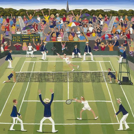 'Wimbledon Tennis' by Louise Braithwaite who is based in Hampshire. Over the last nine years she has developed a style of painting which is vibrant and expressive yet based on her background in graphic illustration. This  one for the hubster who is a mad tennis player!