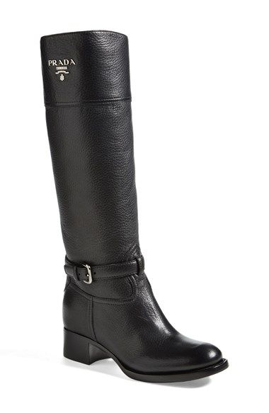 """Free shipping and returns on Prada Logo Riding Boot (Women) at Nordstrom.com. 1 1/2"""" heel (size 38.5) <br>16"""" boot shaft; 13 1/2"""" calf circumference<br>Leather upper, lining and sole.<br>By Prada; made in Italy.<br>Salon Shoes."""