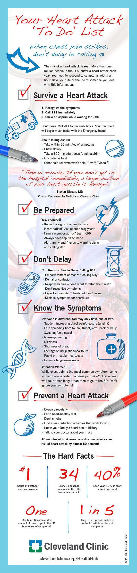 Your Heart Attack To Do List. When chest pain strikes, don't delay in calling 911. We recommend you to learn CPR, especially if tu have a family member at risk.   In our website we talk about how to perform CPR, don't doubt to visit us and learn this and other first aid procedures:  http://insidefirstaid.com/ #first #aid #heart #attack #cpr #medical #emergency #paramedics