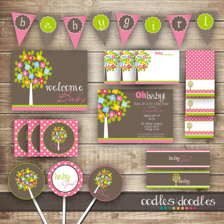 Woodland Baby Girl Shower / Pink and Brown and Green Baby by OandD, $35.00