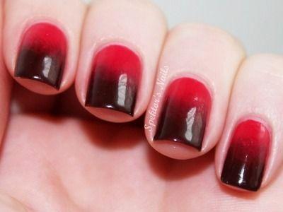 Nail Art o Uñas pintadas en degradado de rojo a negro