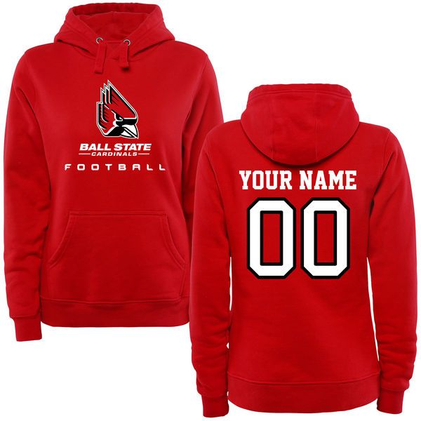 Ball State Cardinals Women's Personalized Football Pullover Hoodie - Red - $69.99