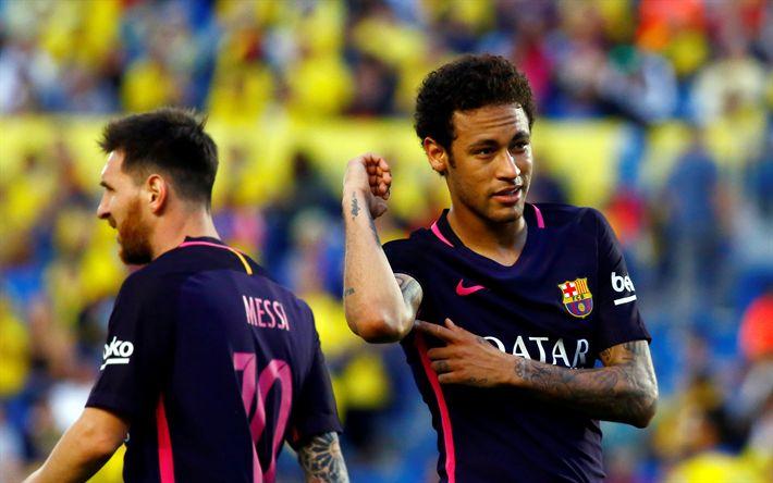 Télécharger fonds d'écran Neymar, Lionel Messi, les joueurs de football, Neymar Jr, le FC Barcelone, les stars du football